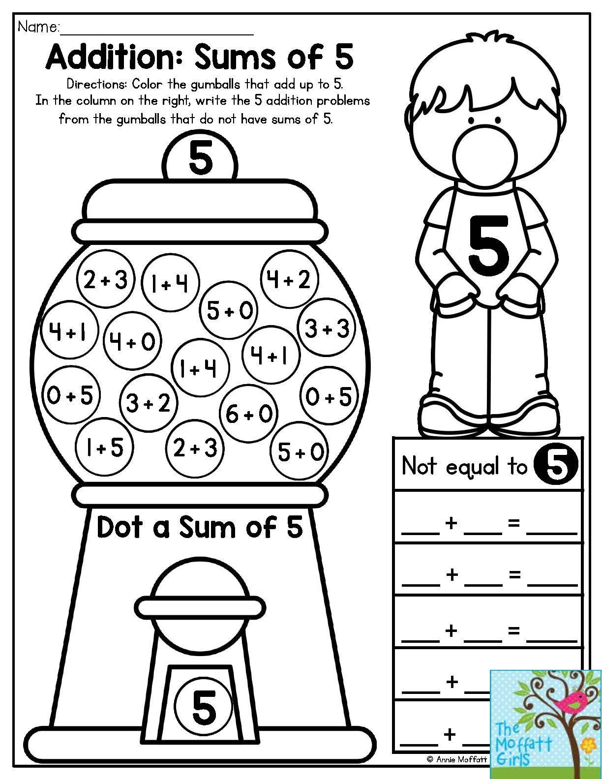 Bubble Gum Math Worksheets Bubble Gum Numbers Addition Sums Of 5 Color the Gumballs