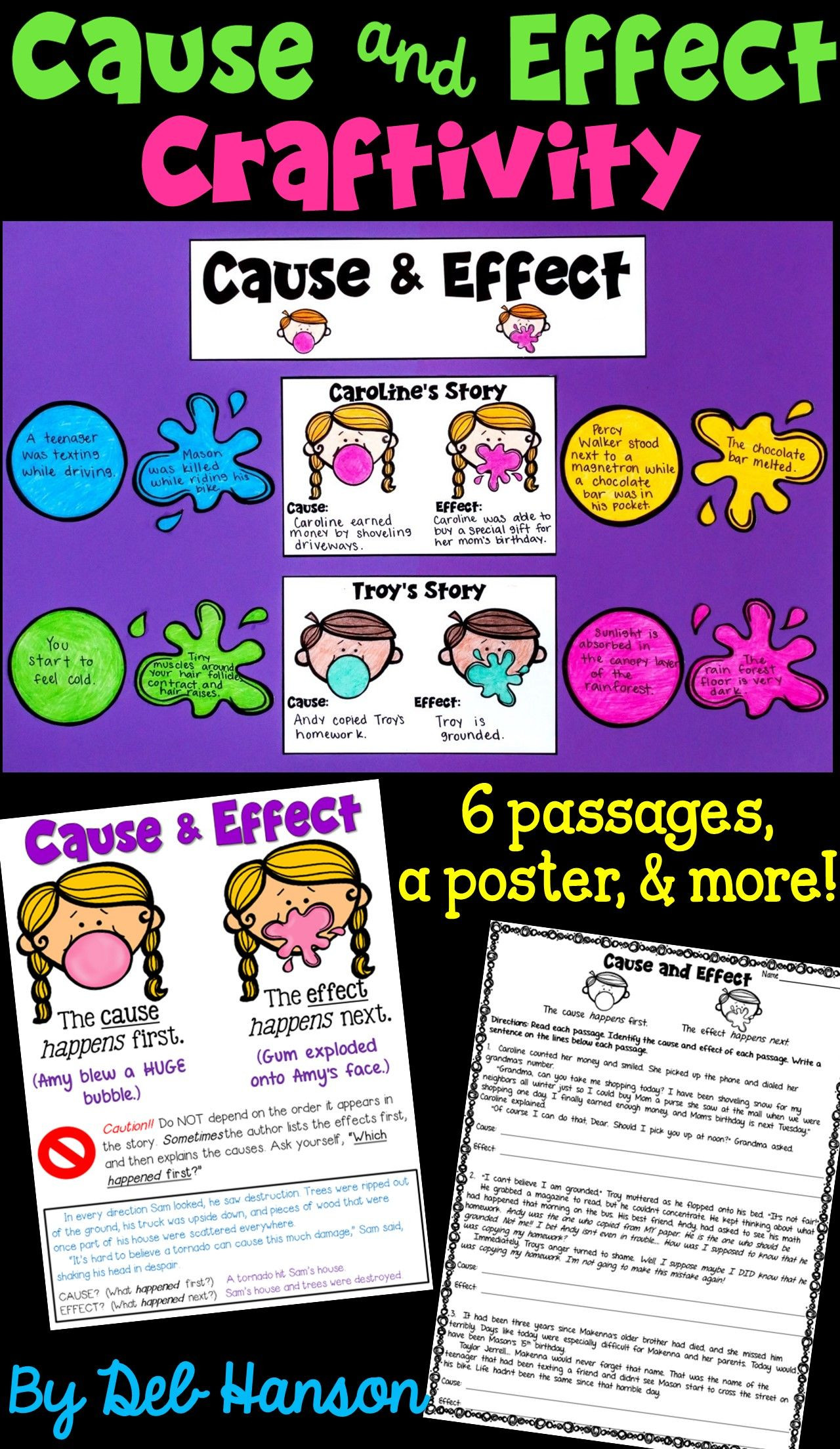 Bubble Gum Math Worksheets Cause and Effect Craftivity