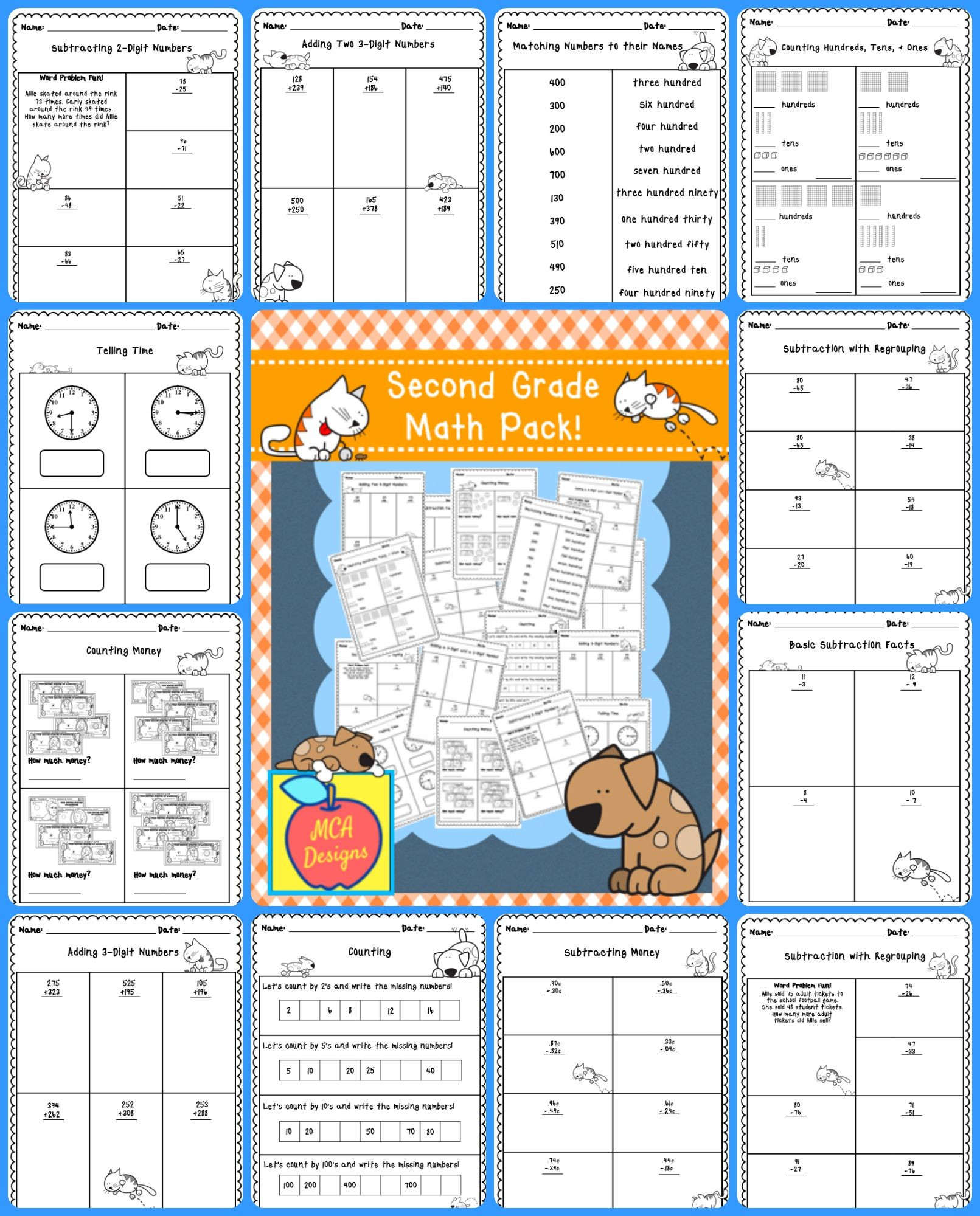 Bubble Gum Math Worksheets Second Grade Math Pack with Images
