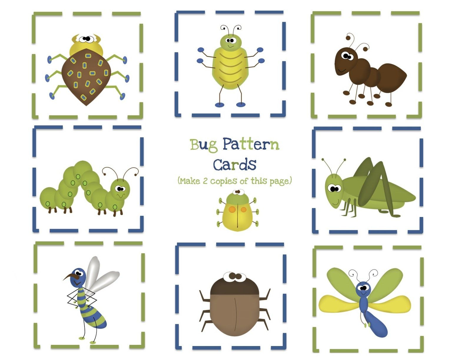 Bug Worksheets for Preschool Bug Pattern Cards for Boys