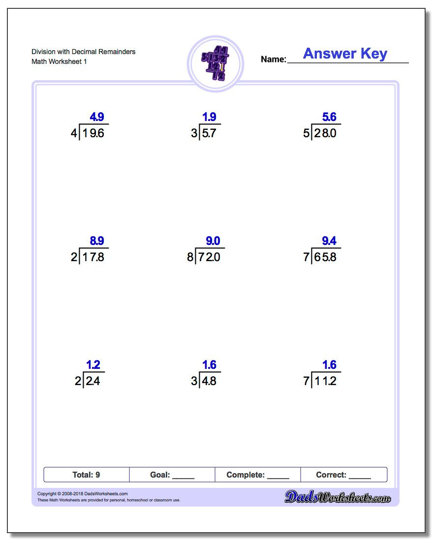 Capacity Worksheets 3rd Grade Division Worksheets with Answers E Digit Decimal Results