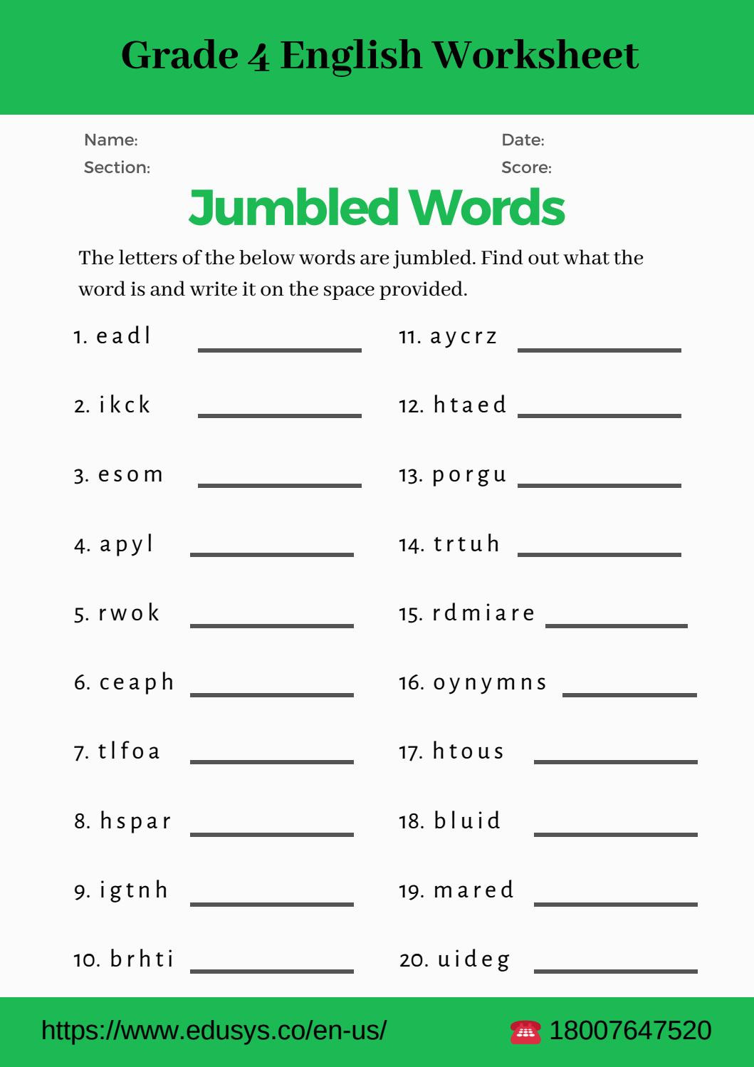 Capacity Worksheets 4th Grade 4th Grade English Vocabulary Worksheet Pdf by Nithya issuu