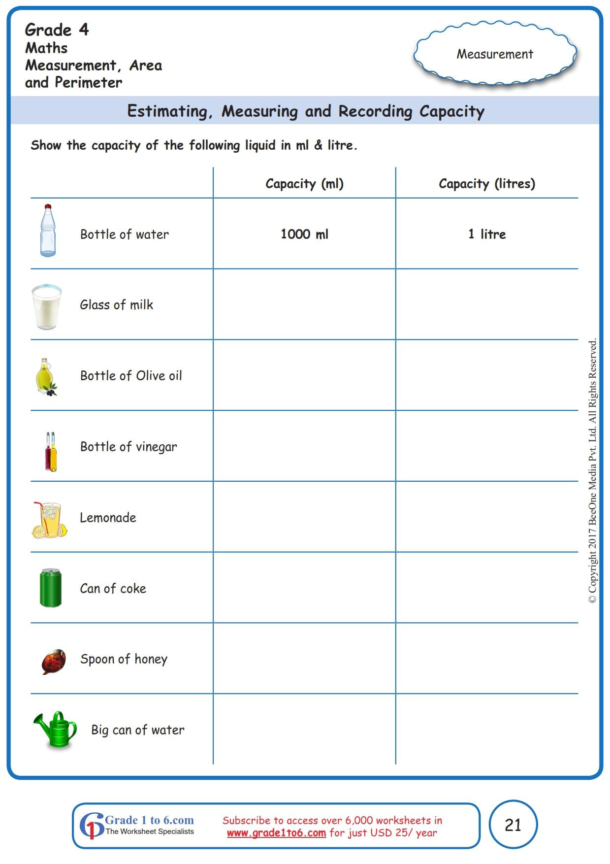 Capacity Worksheets 4th Grade Free Math Worksheets for Grade 1 Through Grade 6 Subscribe