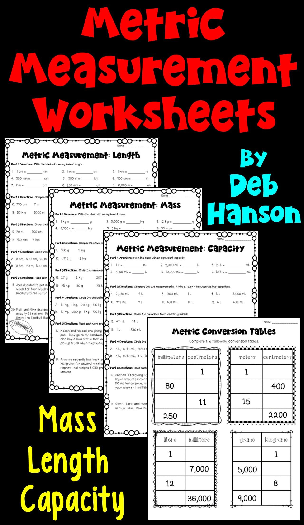 Capacity Worksheets 4th Grade Metric Measurements Worksheets Length Mass Capacity