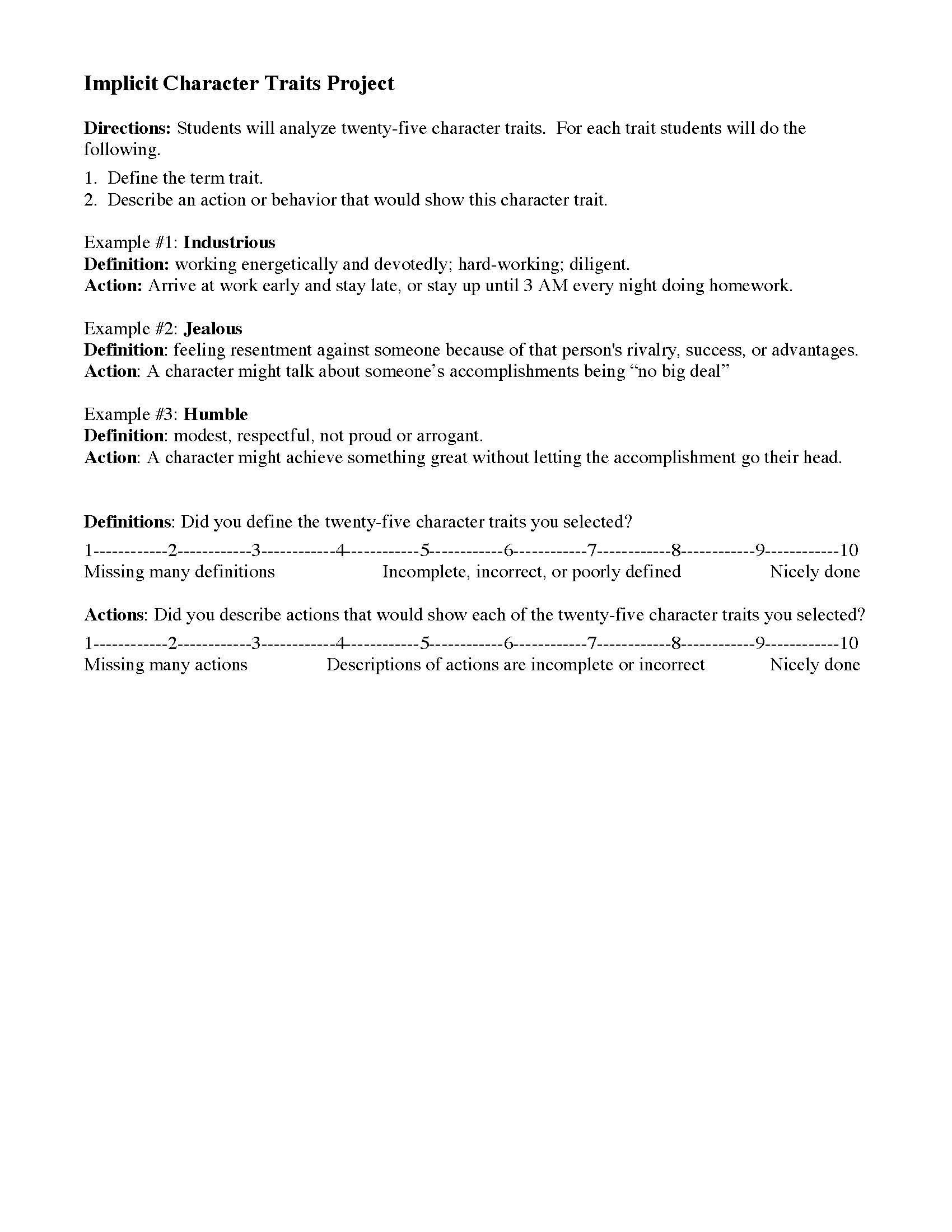 Character Traits Worksheet 4th Grade Characterization Worksheets