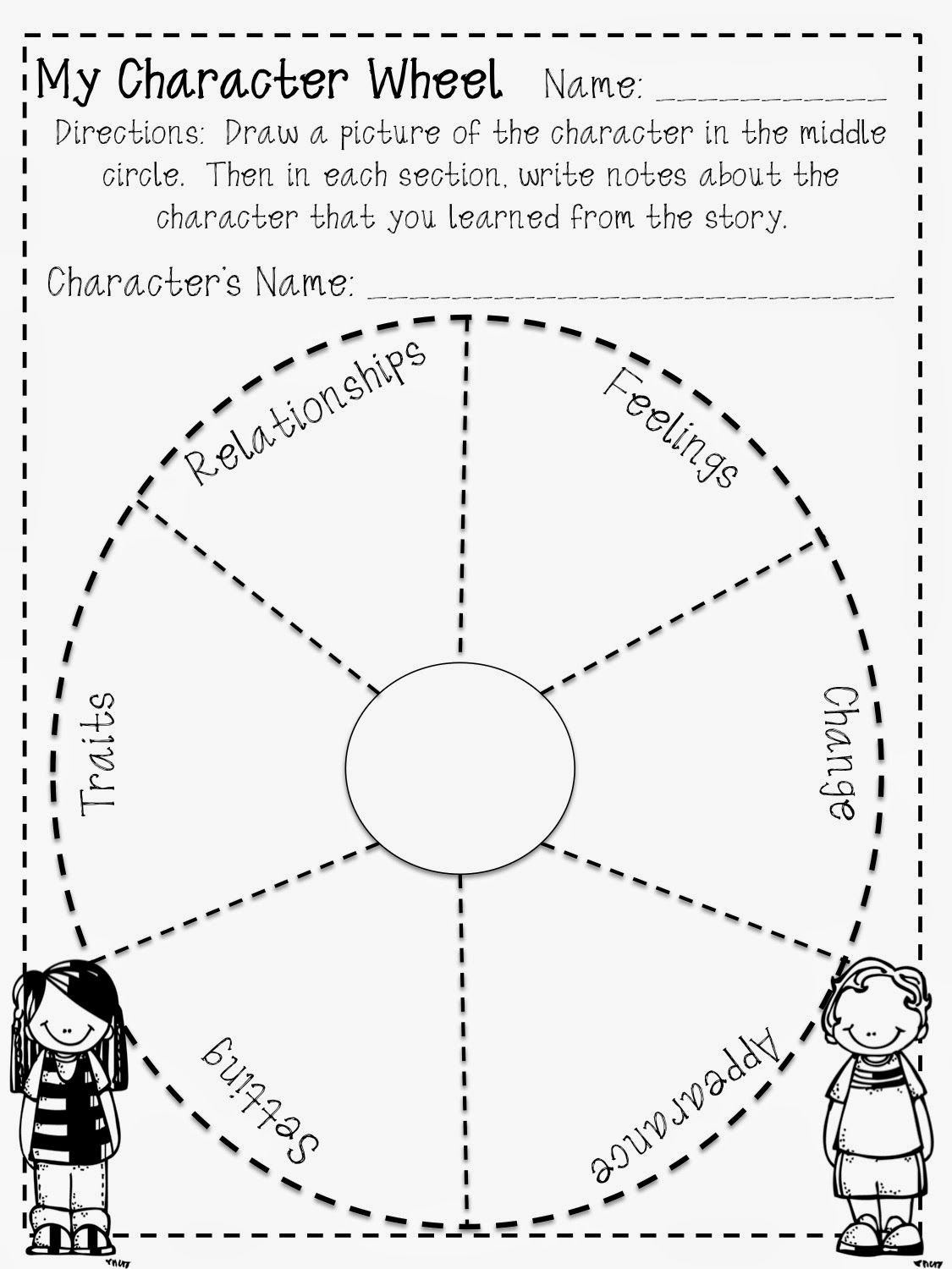 Character Traits Worksheet 4th Grade Reading Character Wheel Freebie