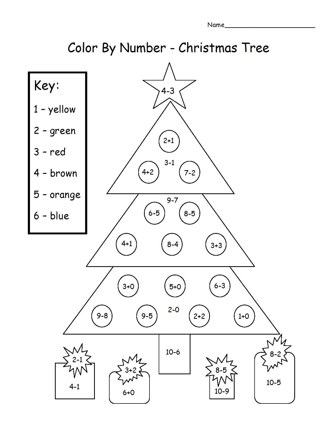 Christmas Coloring Math Worksheets Almost December