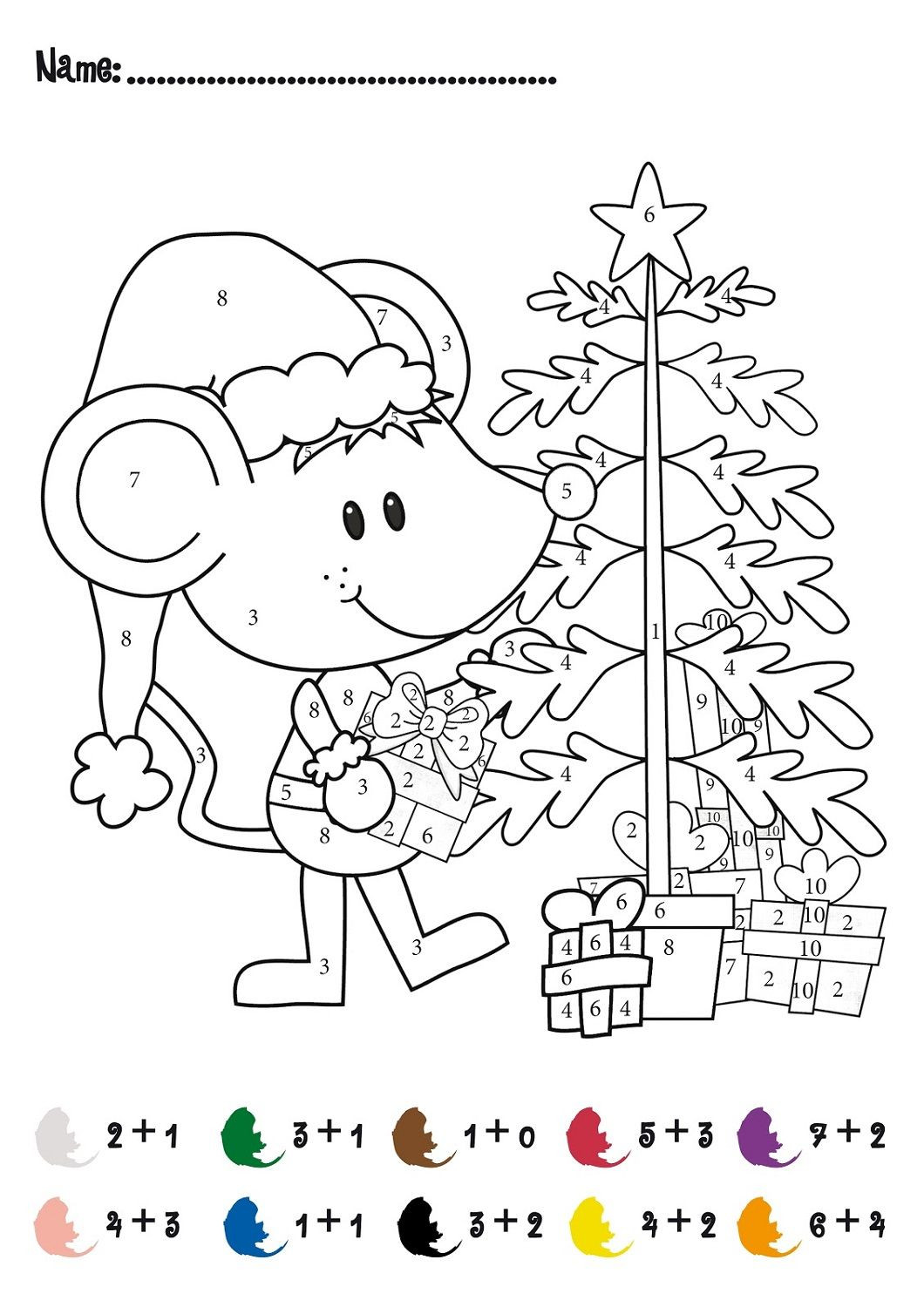 Christmas Coloring Math Worksheets Free Color by Numbers Worksheets