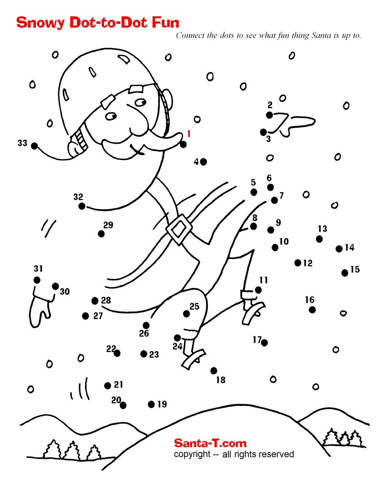 Christmas Connect the Dots Printables Snowboarding Santa Dot to Dot
