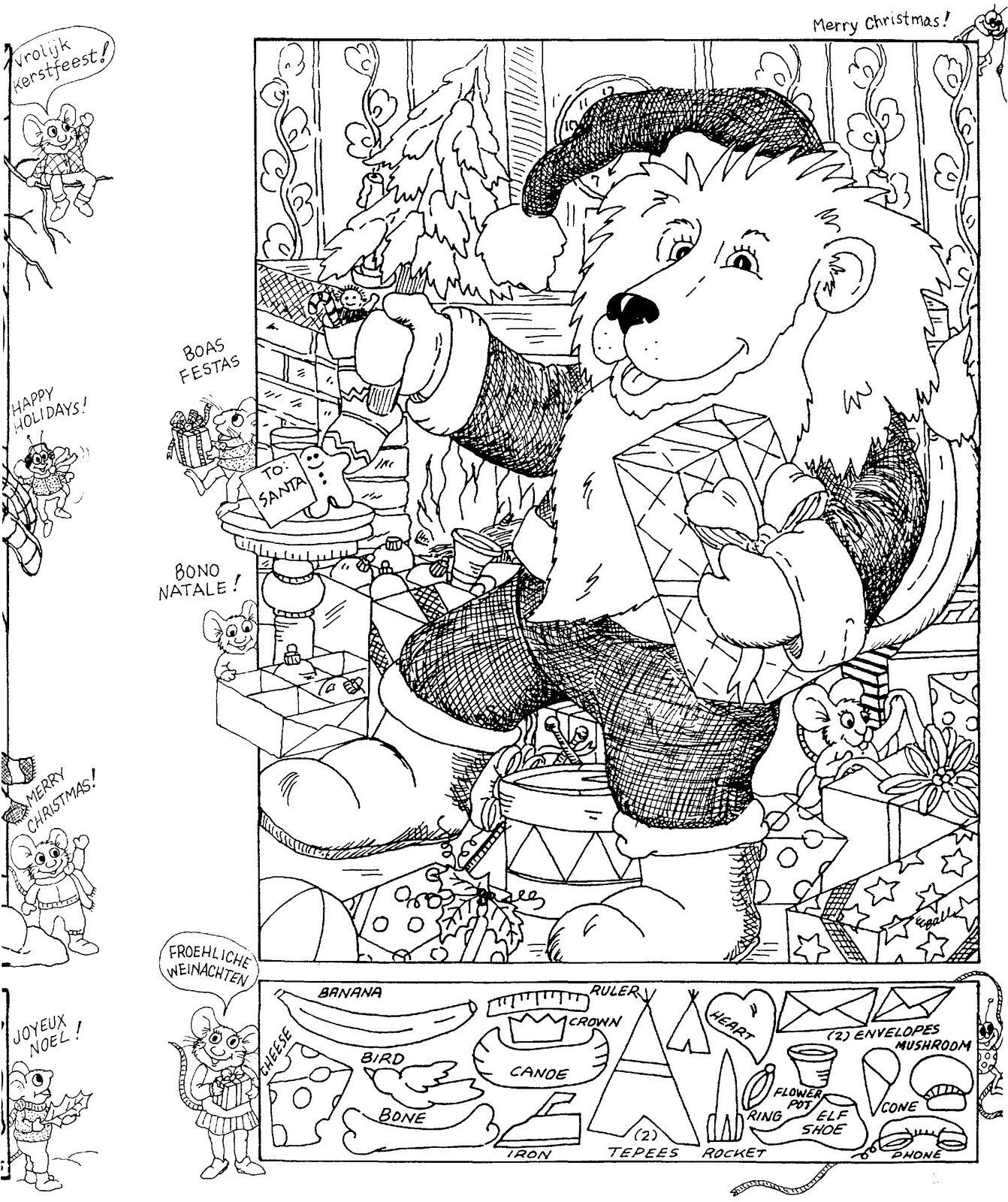 Christmas Hidden Picture Puzzles Printable Christmas Hidden Picture Puzzle Coloring Page