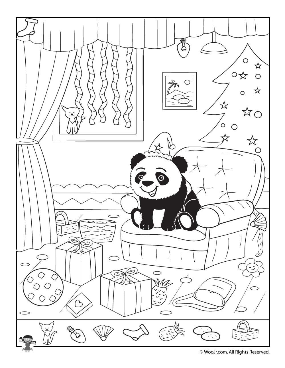 Christmas Hidden Picture Puzzles Printable Happy Panda Xmas Hidden Picture Page