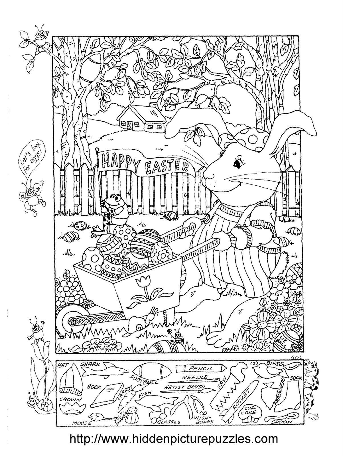 Christmas Hidden Pictures Printable Easter Hidden Picture Puzzle and Coloring Page