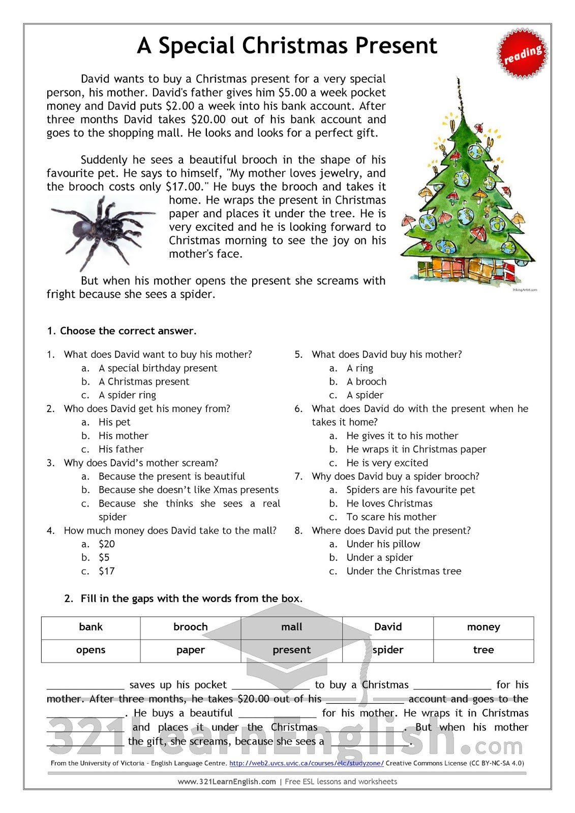 Christmas Reading Comprehension Worksheets 321 Learn English Reading A Special Christmas Present