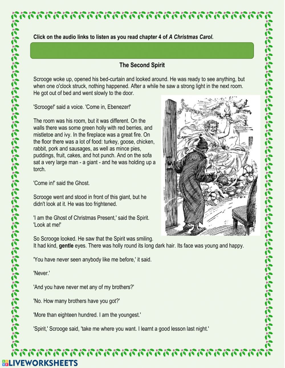 Christmas Reading Comprehension Worksheets A Christmas Carol Chapter 4 Interactive Worksheet
