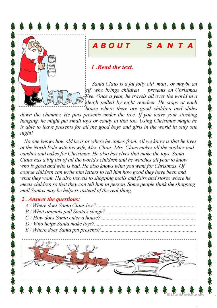 Christmas Reading Comprehension Worksheets About Santa Worksheet Free Esl Printable Worksheets Made