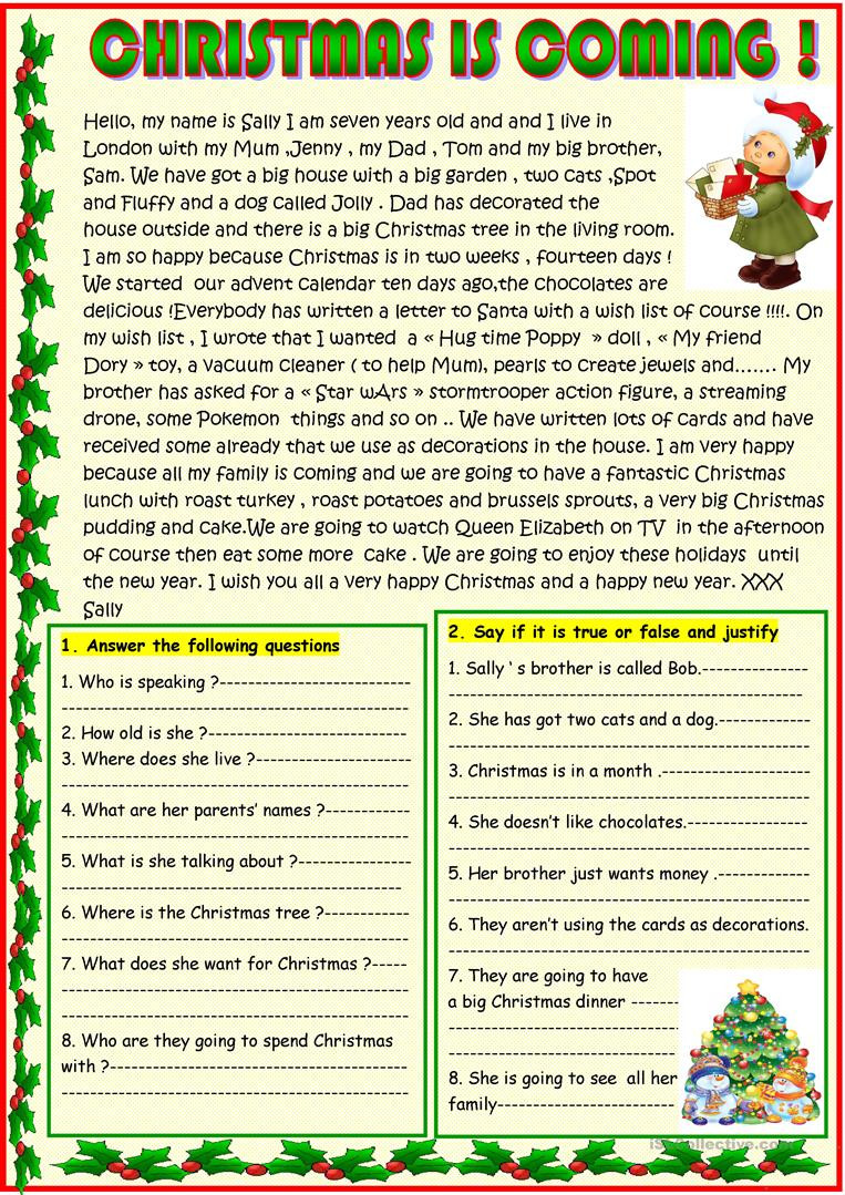 Christmas Reading Comprehension Worksheets Christmas is Ing Basic Christmas Reading with A Poem On