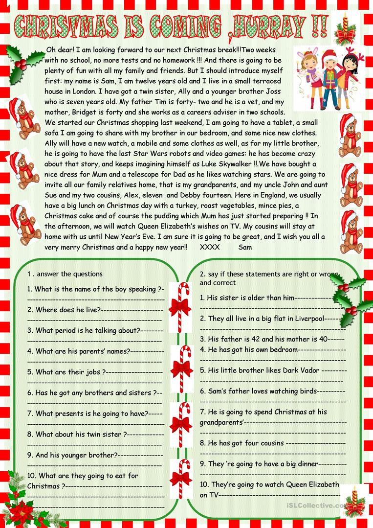 Christmas Reading Comprehension Worksheets Christmas is Ing Christmas Reading Prehension