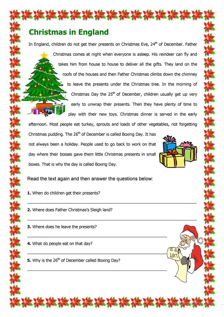 Christmas Reading Comprehension Worksheets Christmas Reading Prehension Worksheets