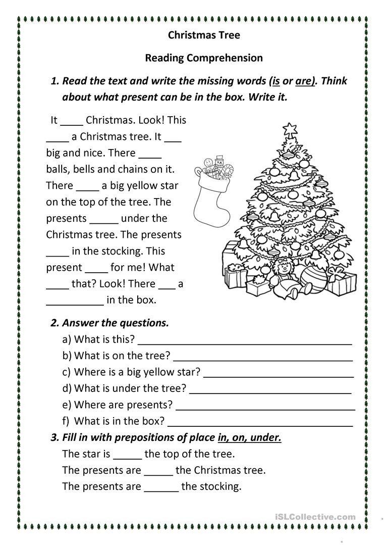 Christmas Reading Comprehension Worksheets Christmas Tree English Esl Worksheets for Distance