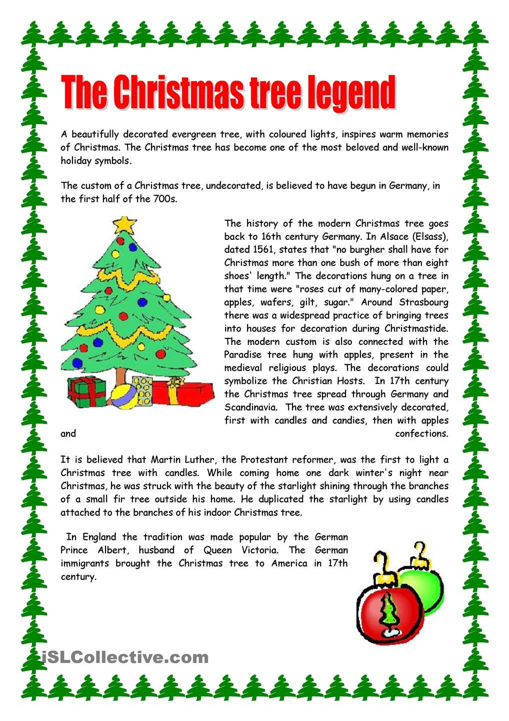 Christmas Reading Comprehension Worksheets Christmas Tree