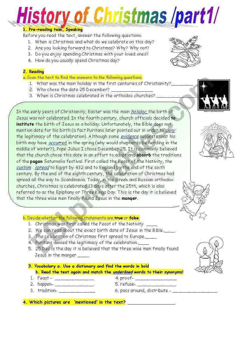 Christmas Reading Comprehension Worksheets History Of Christmas Reading Prehension at Intermediate