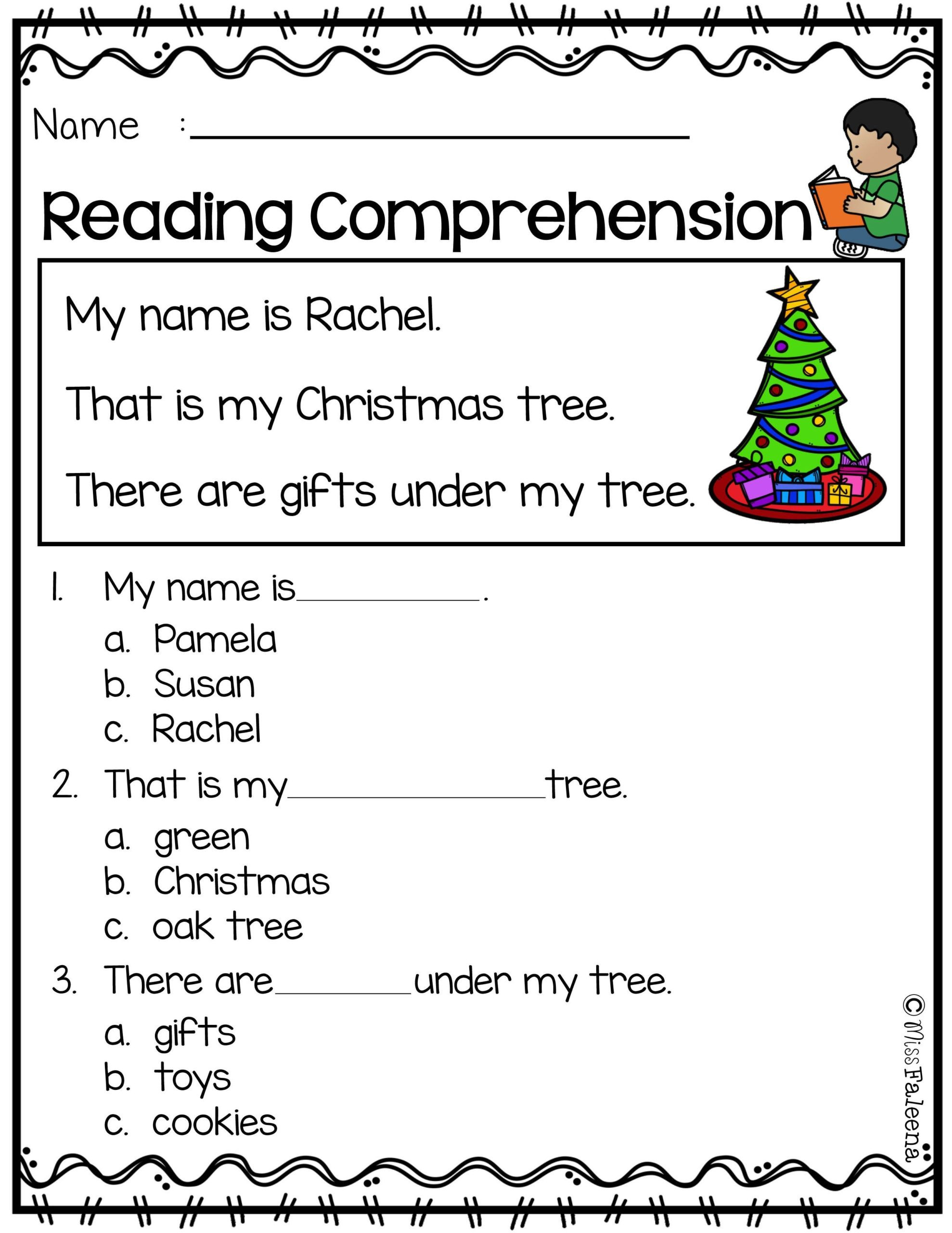 Christmas Reading Comprehension Worksheets Math Worksheet Third Grade Readingsion Worksheets 3rd