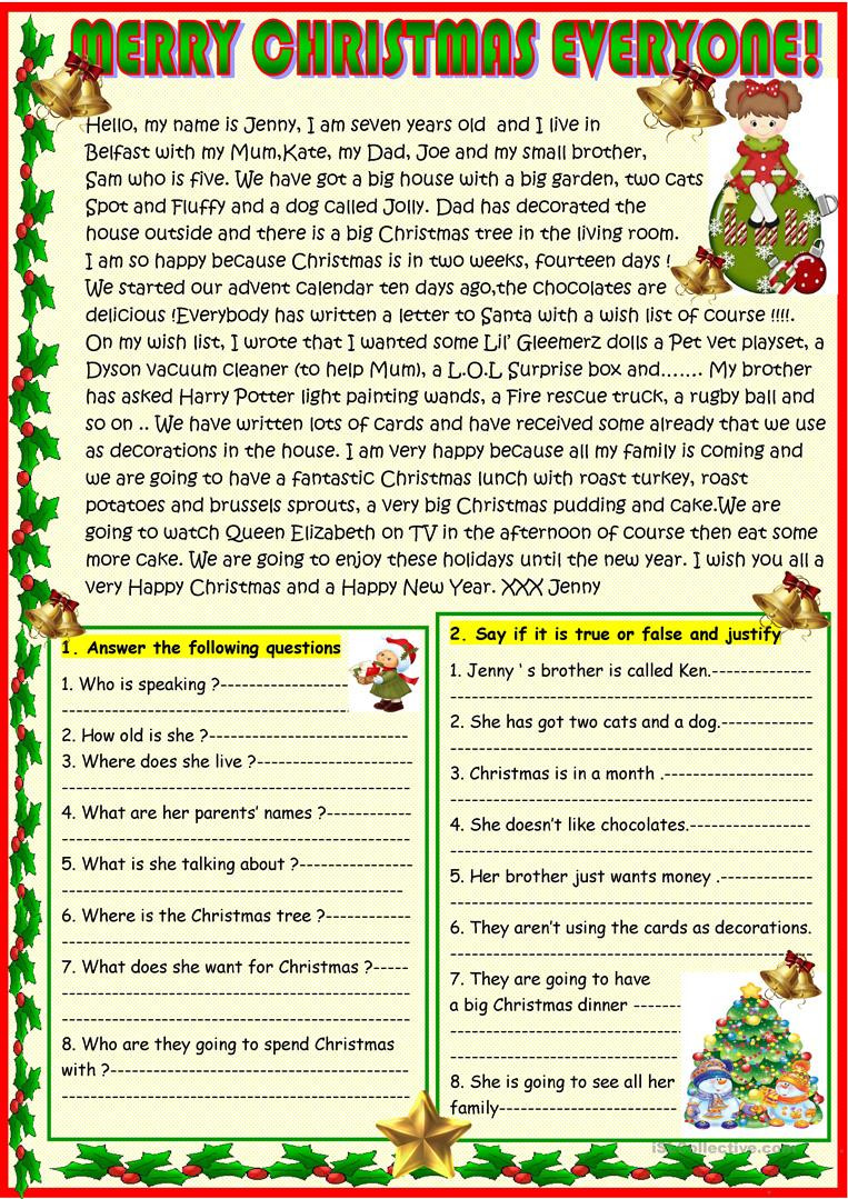 Christmas Reading Comprehension Worksheets Merry Christmas Everyone Christmas Reading English Esl