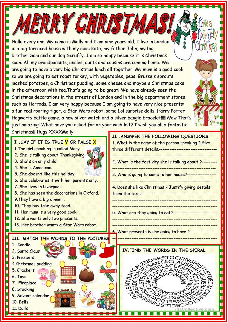 Christmas Reading Comprehension Worksheets Merry Christmas Multiple Activities Christmas Reading