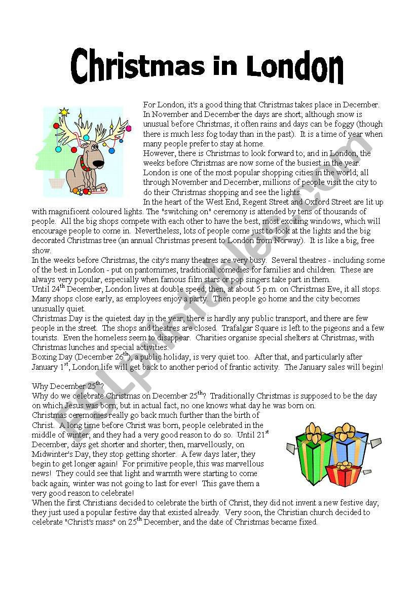 Christmas Reading Comprehension Worksheets Reading Christmas In London Part 1 Esl Worksheet by