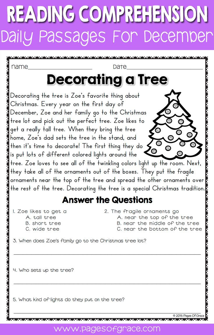 Christmas Reading Comprehension Worksheets Reading Prehension Passages and Questions for December