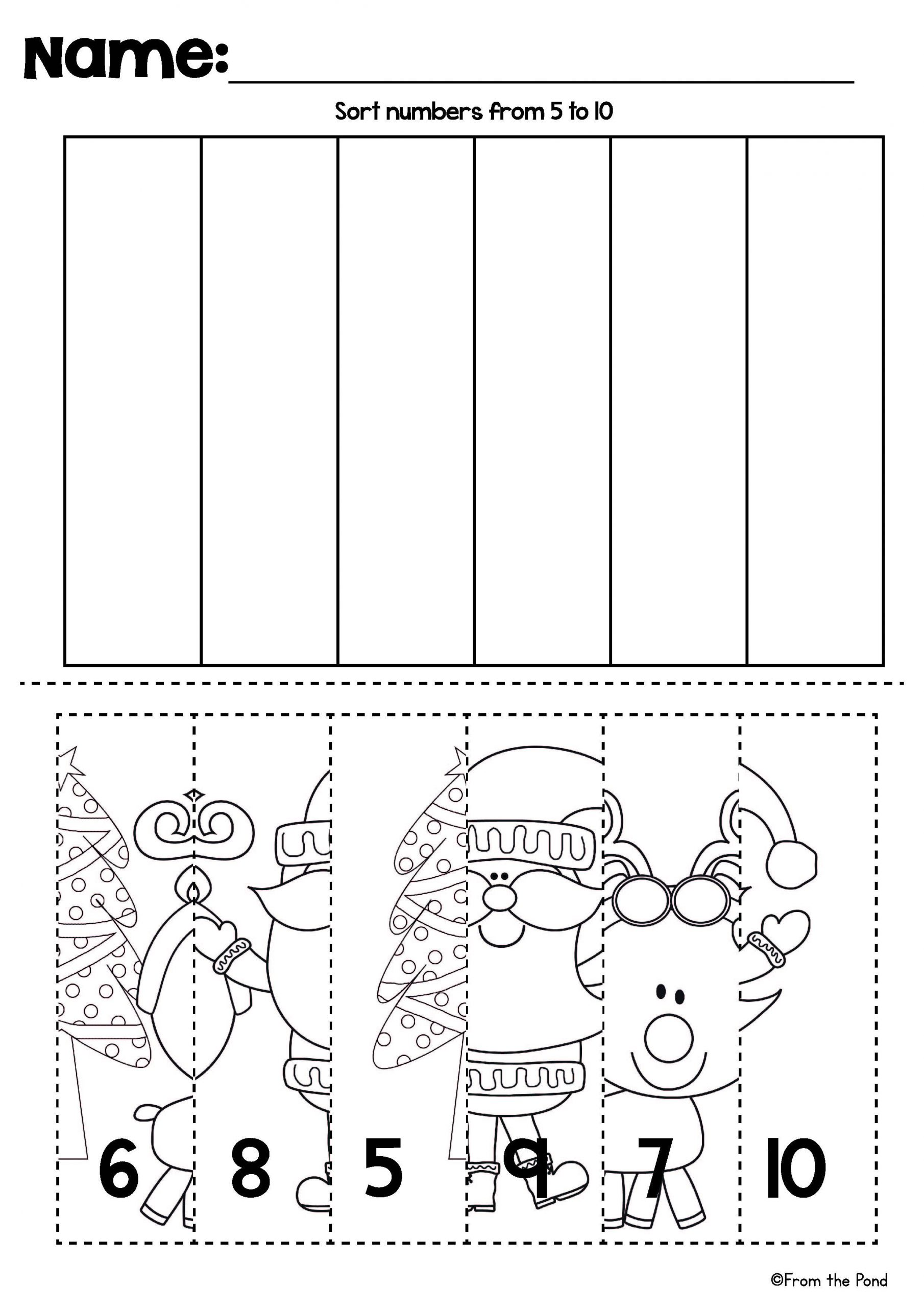 Christmas Worksheets for Preschool Christmas Number Line Puzzles