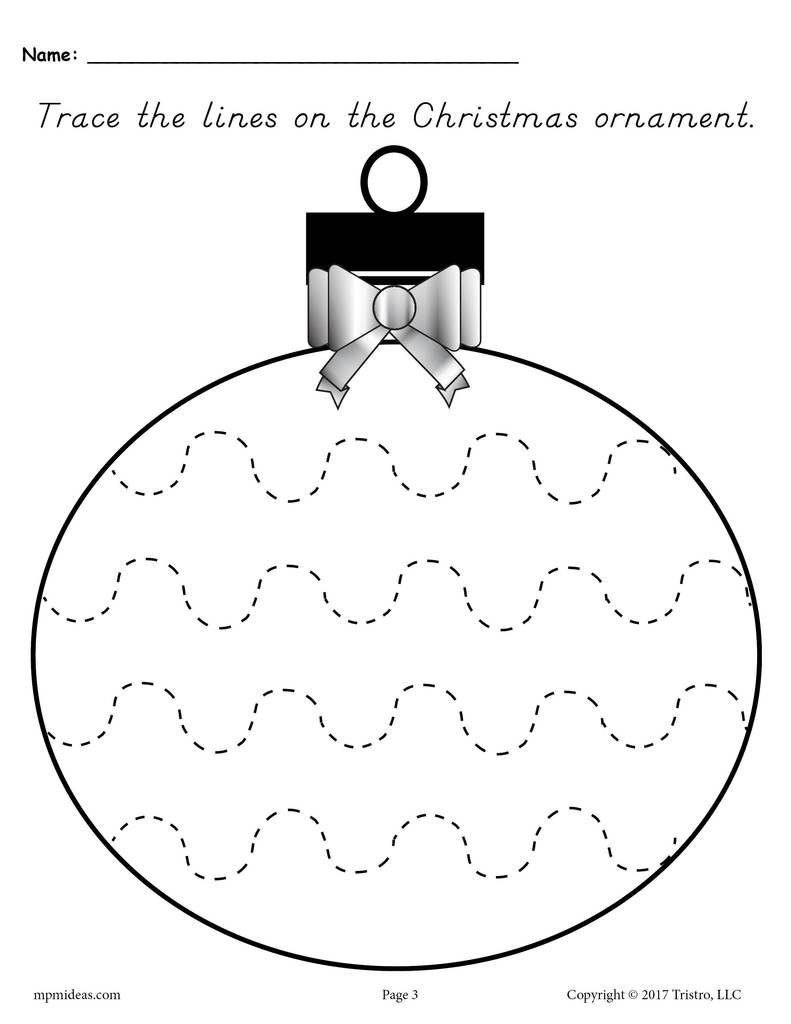 Christmas Worksheets for Preschool Printable Christmas ornament Line Tracing Worksheets