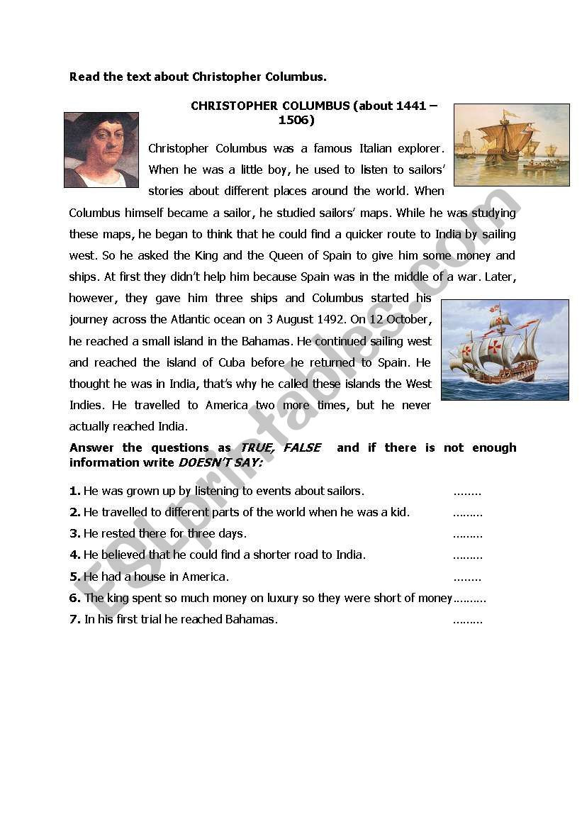 Christopher Columbus Reading Comprehension Worksheet Chiristooher Columbus Reading Esl Worksheet by Helenaliz