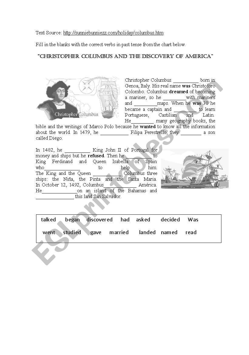 Christopher Columbus Reading Comprehension Worksheet Christopher Columbus and the Discovery Of America Esl