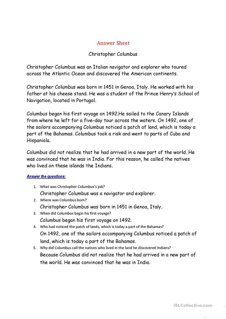 Christopher Columbus Reading Comprehension Worksheet Christopher Columbus English Esl Worksheets for Distance