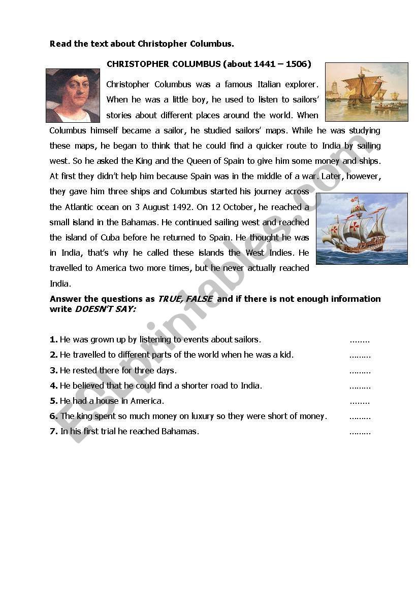Christopher Columbus Reading Comprehension Worksheet Christopher Columbus Esl Worksheet by Wel Ee