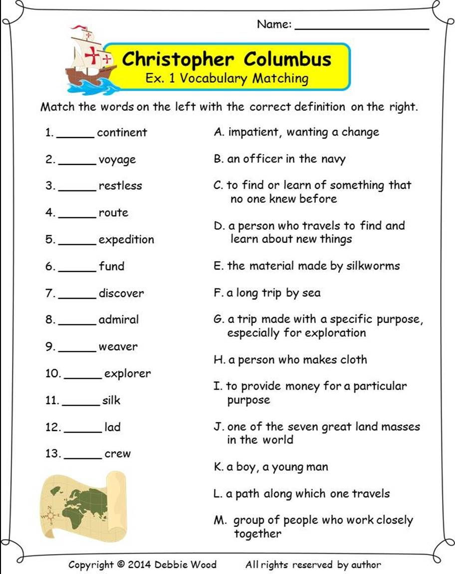 Christopher Columbus Reading Comprehension Worksheet Christopher Columbus