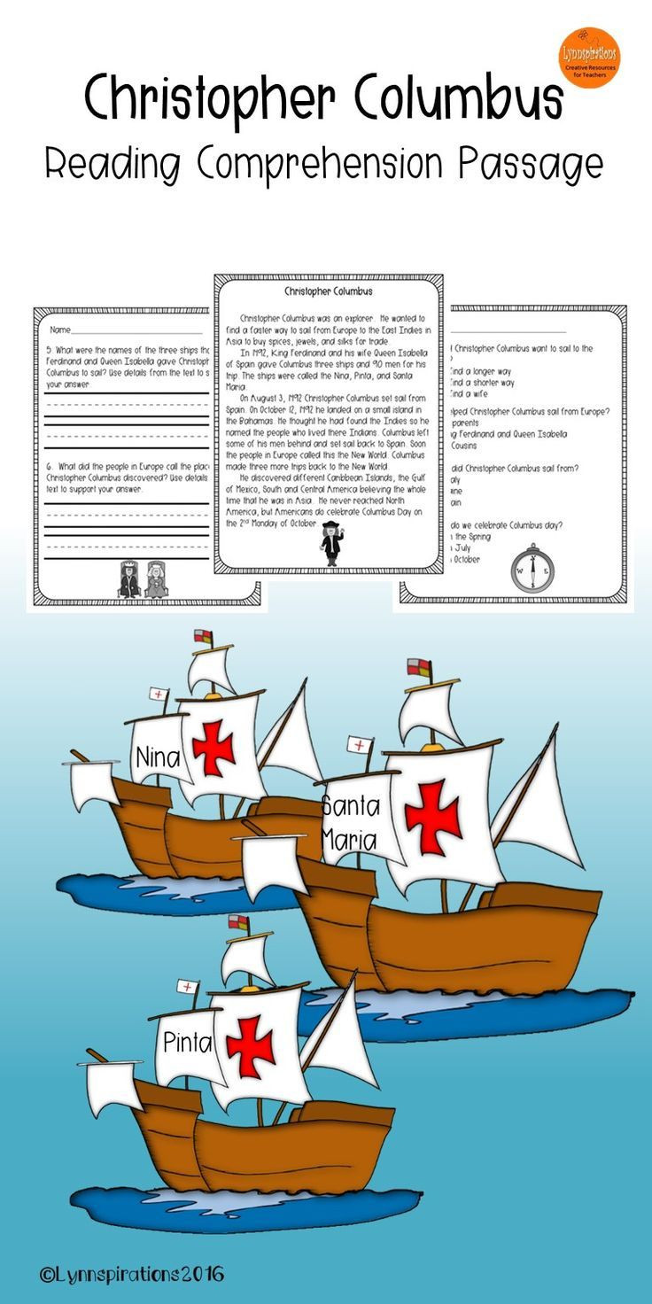 Christopher Columbus Reading Comprehension Worksheet Christopher Columbus Reading Prehension Passage for