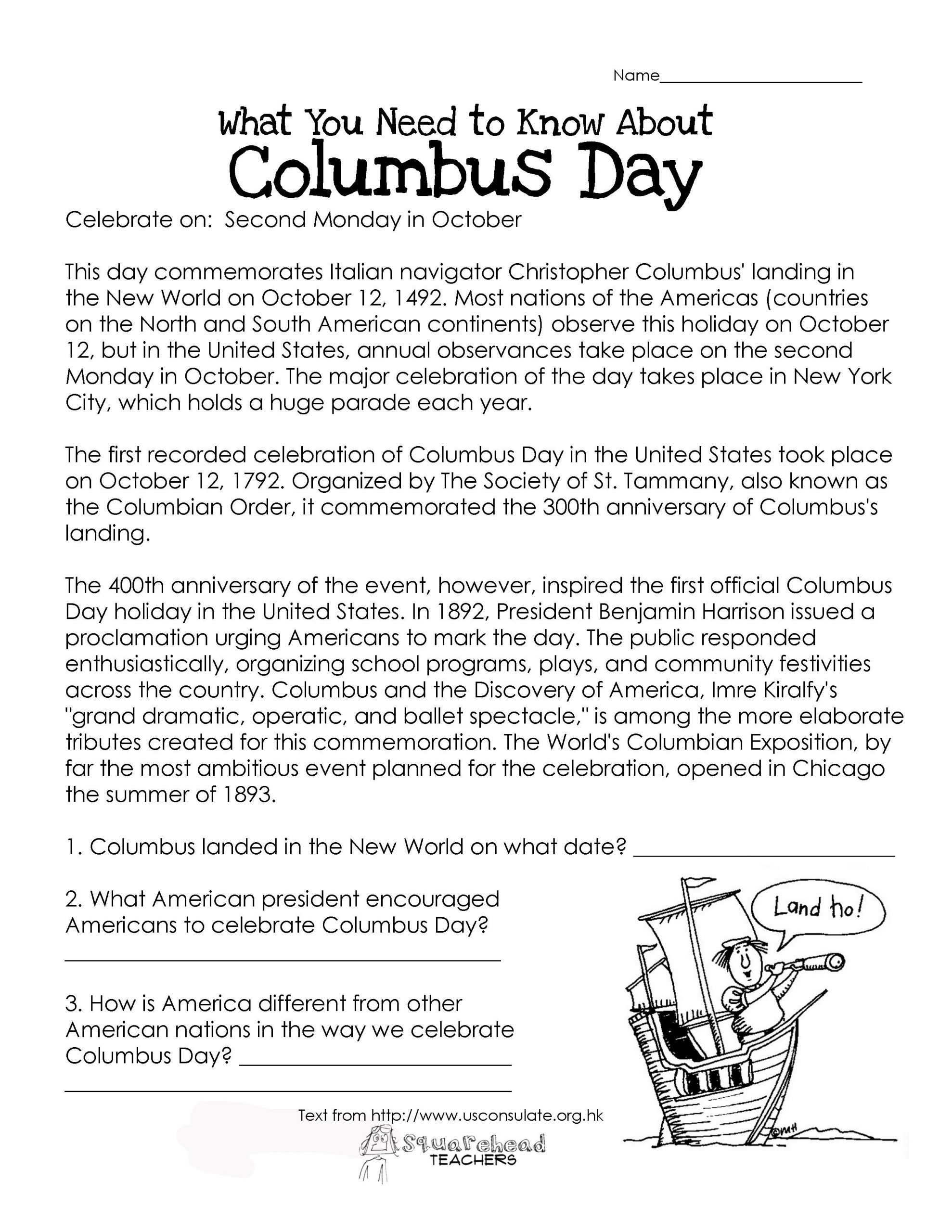 Christopher Columbus Reading Comprehension Worksheet Columbus Day Free Worksheet