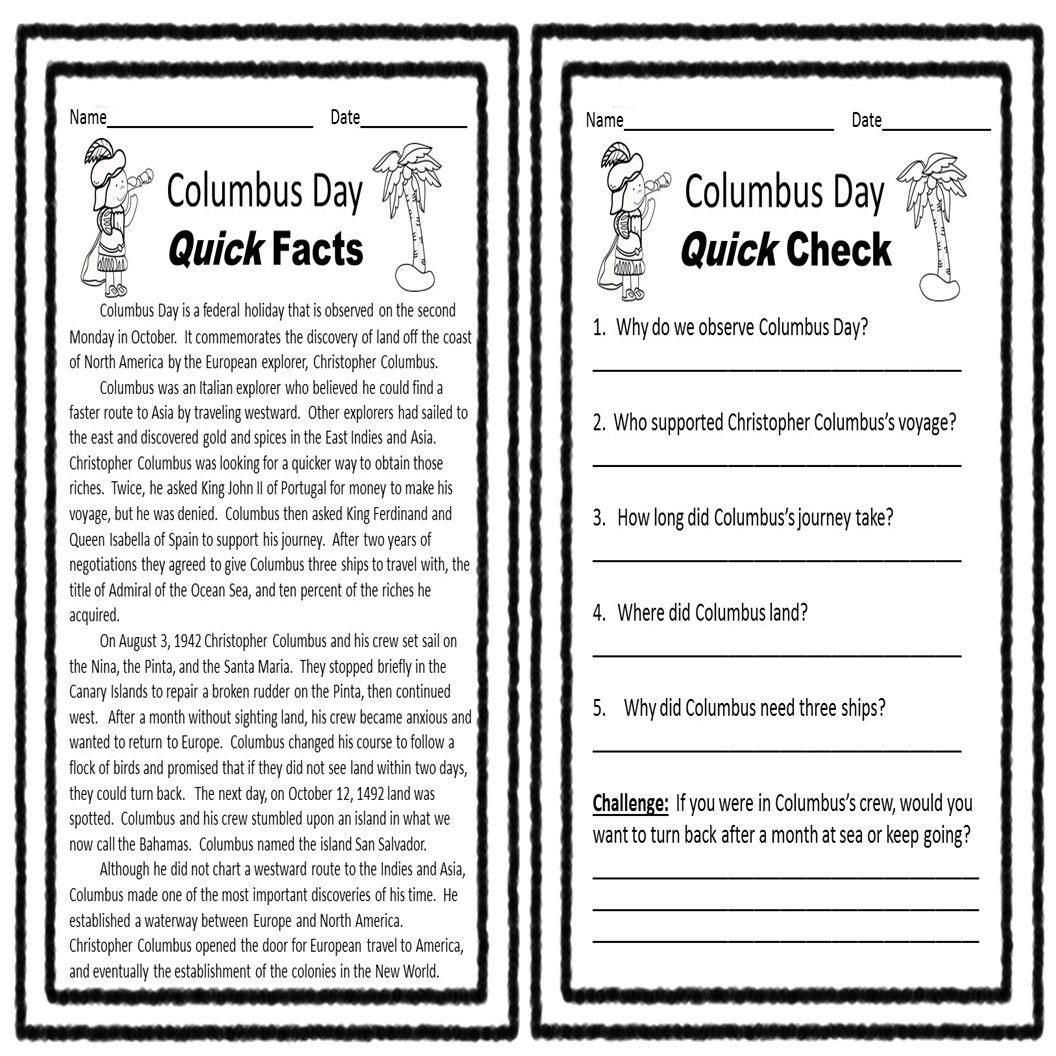 Christopher Columbus Reading Comprehension Worksheet Columbus Day Reading Prehension Printable is Full Of Fun