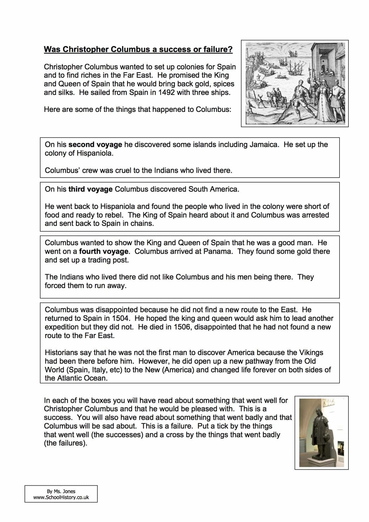 Christopher Columbus Reading Comprehension Worksheet Was Christopher Success Failure Worksheet Year Facts