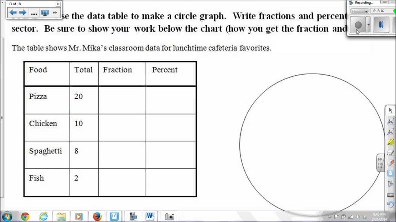 Circle Graphs Worksheets 7th Grade Pie Graphs or Circle Graphs with Videos Worksheets