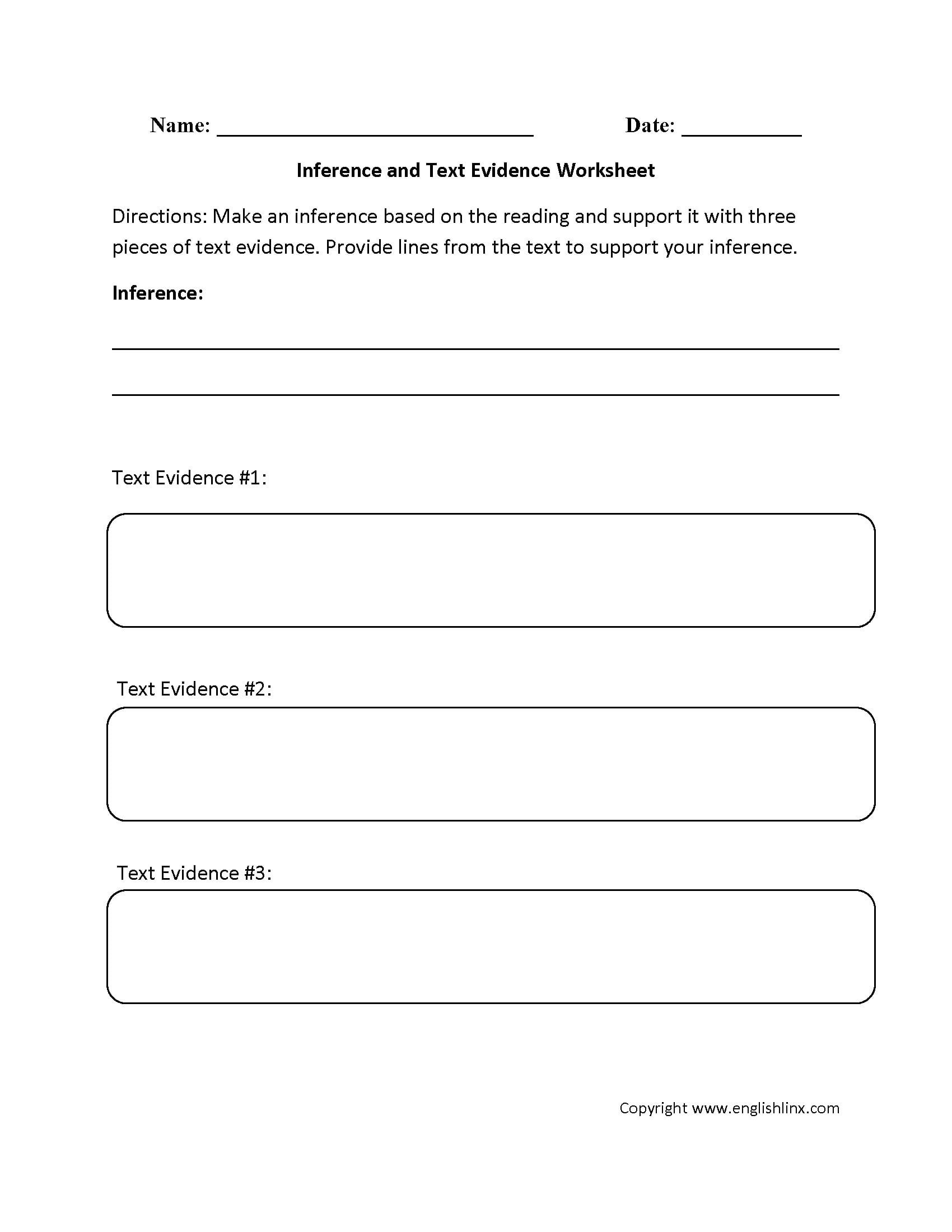 Citing sources Worksheet 5th Grade Citing Text Evidence Worksheet
