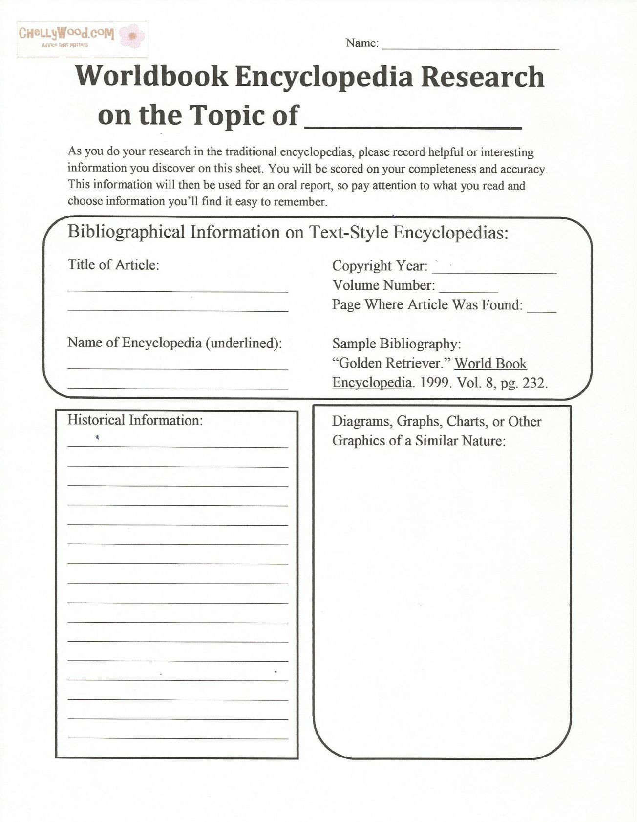 Citing sources Worksheet 5th Grade Free Printable Encyclopedia Handout for Teaching Research