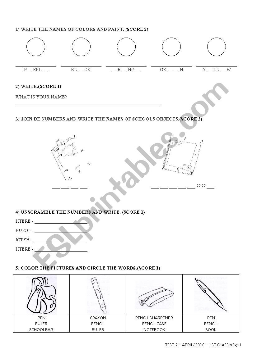 Ck Worksheets for 1st Grade English Test 2 for 1st Grade 1b Esl Worksheet by