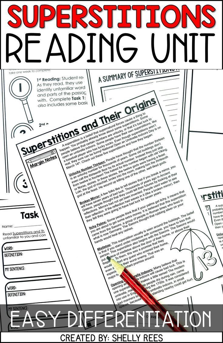 Close Reading Activities Worksheets Friday the 13th and Superstitions Reading Passage