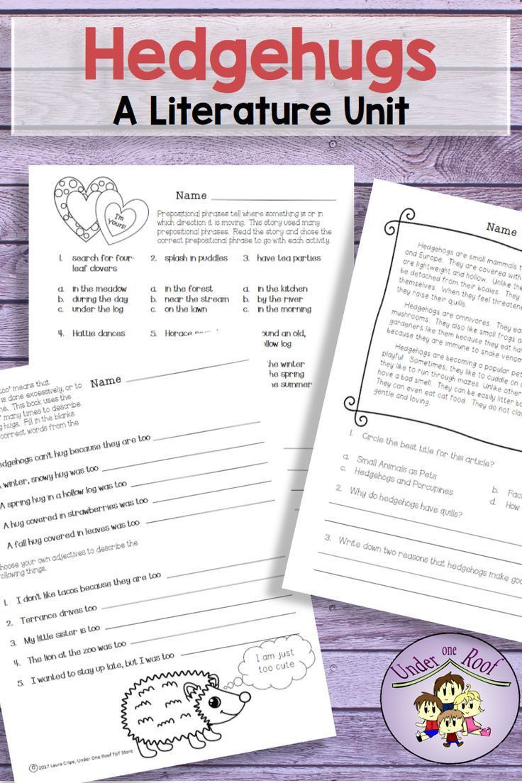 Close Reading Activities Worksheets Hedgehugs A Literature Unit