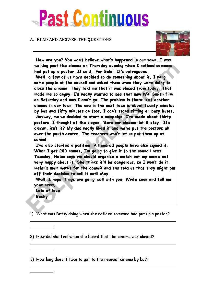Close Reading Activities Worksheets Past Continuous Reading Questions and Answers with