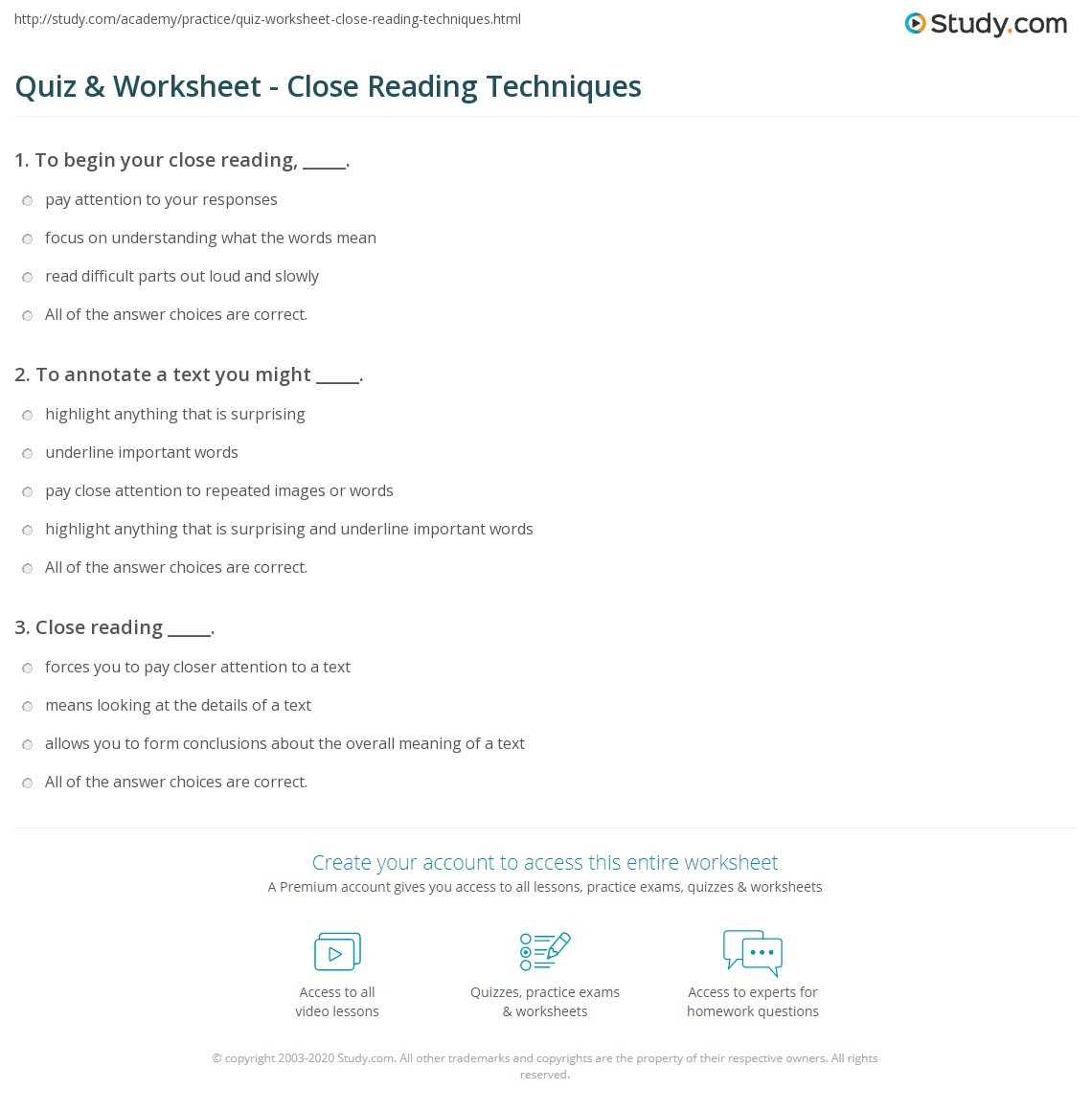 Close Reading Activities Worksheets Quiz & Worksheet Close Reading Techniques