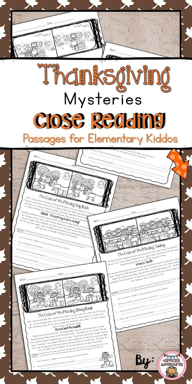 Close Reading Activities Worksheets Thanksgiving Close Reading Passages Reading Prehension